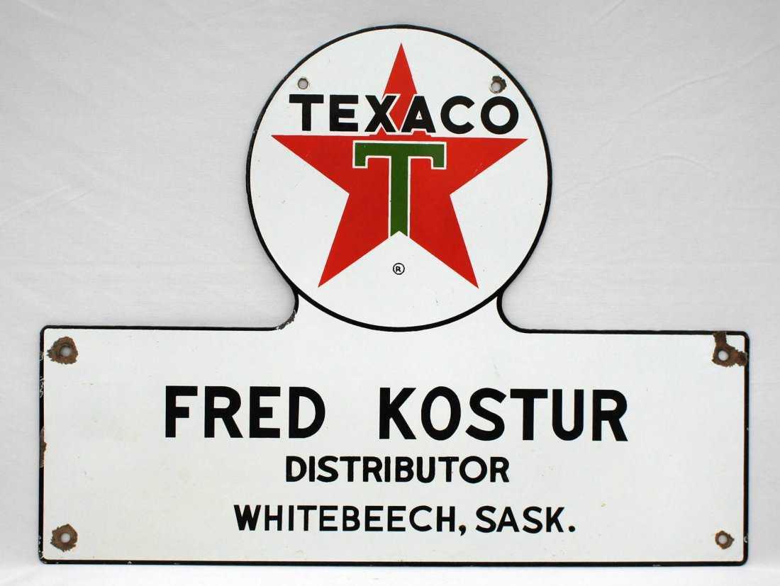 Vintage Texaco Distributor Truck Door Canadian Sign 16
