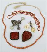 Group of Antique Chinese Coral  Cinnabar Jewelry