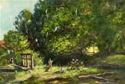 European Landscape with Figures Oil on Canvas