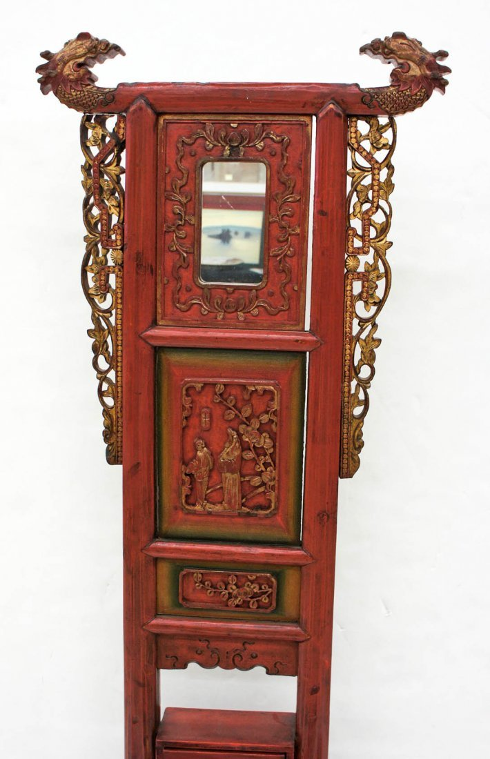 Antique Chinese Lacquered Wood Wash Basin Stand - 2