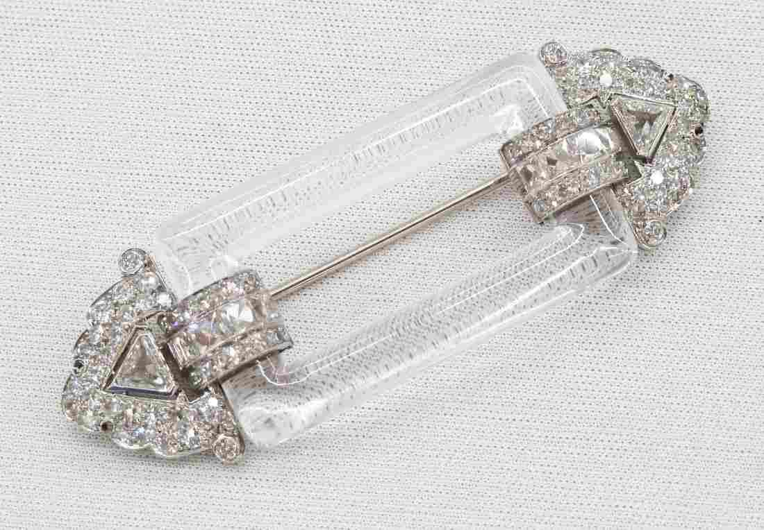 Fine Art Deco Platinum & Diamond Rock Crystal Brooch