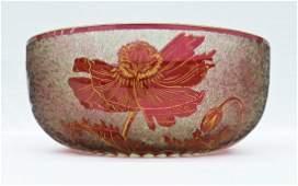 Antique Baccarat Acid Etched Poppy Cranberry Glass Bowl