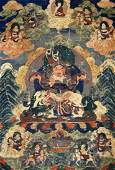 Antique Tibetan Painted Silk Thangka 34''x22''. Borders