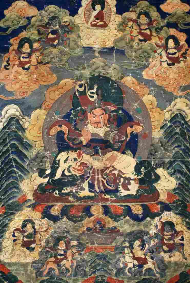 Antique Tibetan Painted Silk Thangka 34''x22''. Borders