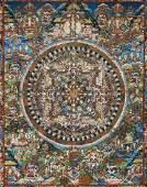 Old Tibetan Painted Thangka Framed 23''x28''.