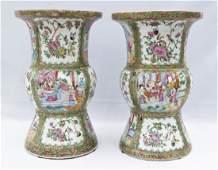 Pair Antique Chinese Export Rose Medallion Porcelain