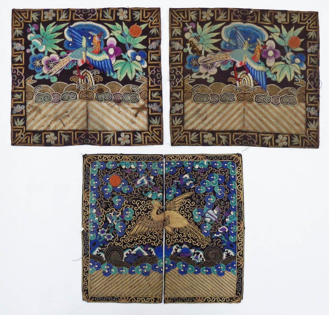 3pc Antique Chinese Pheasant Rank Badges 11''x12'' Each