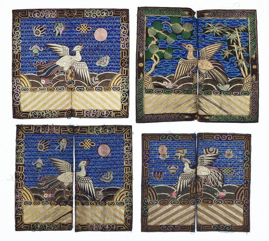 4pc Antique Chinese Pheasant Rank Badges 11''x12'' Each