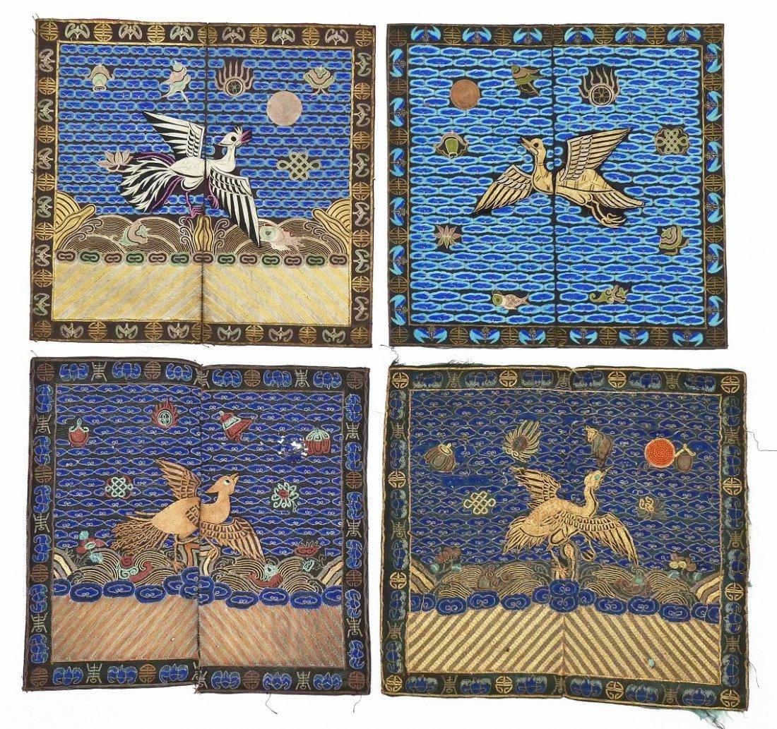 4pc Antique Chinese Pheasant Rank Badges 11.5''x12''