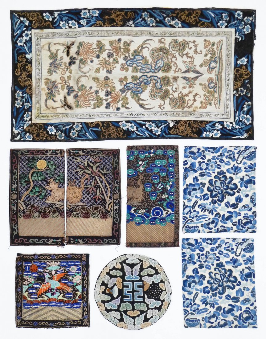 7pc Antique Chinese Silk Embroidery. Includes a large