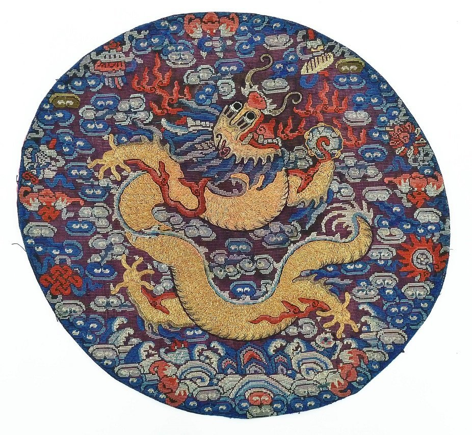 Antique Chinese Imperial Dragon Kesi Silk Round Rank
