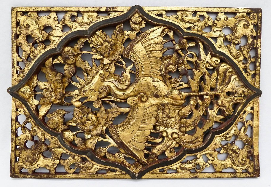 Antique Chinese Phoenix Gilt Carved Wood Temple Panel