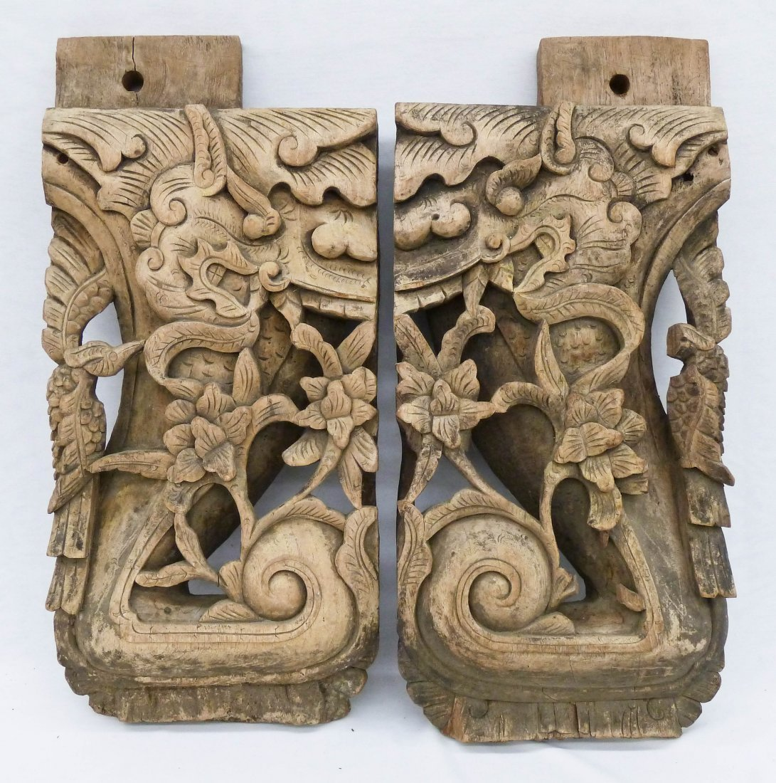 Pair Antique Chinese Carved Architectural Ornaments