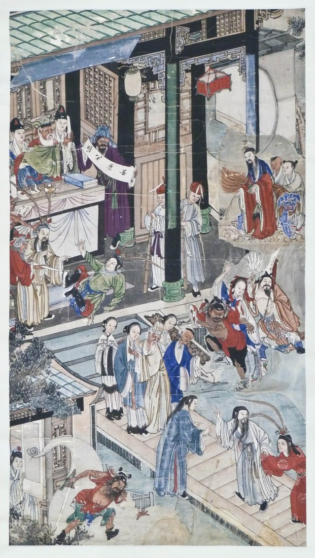 Antique Chinese Opera Scene Polychrome Scroll Painting