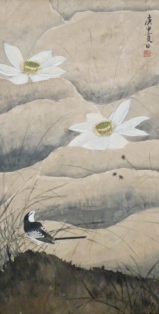 Antique Chinese Lotus Blossom & Bird Silk Scroll