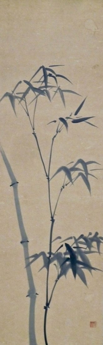 Antique Chinese Bamboo Ink Scroll Painting