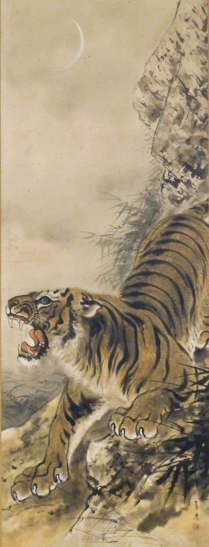 Antique Japanese Tiger Polychrome Ink Scroll Painting