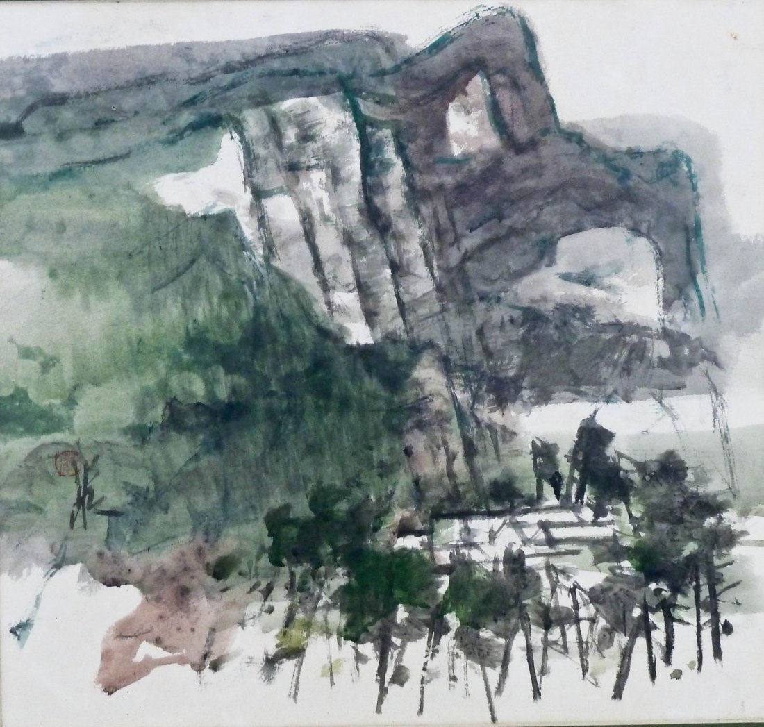 Chinese Modern Mountain Landscape Ink Scroll Painting