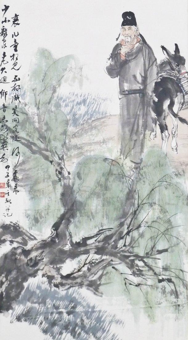 Chinese Modern Scholar with Donkey Polychrome Ink