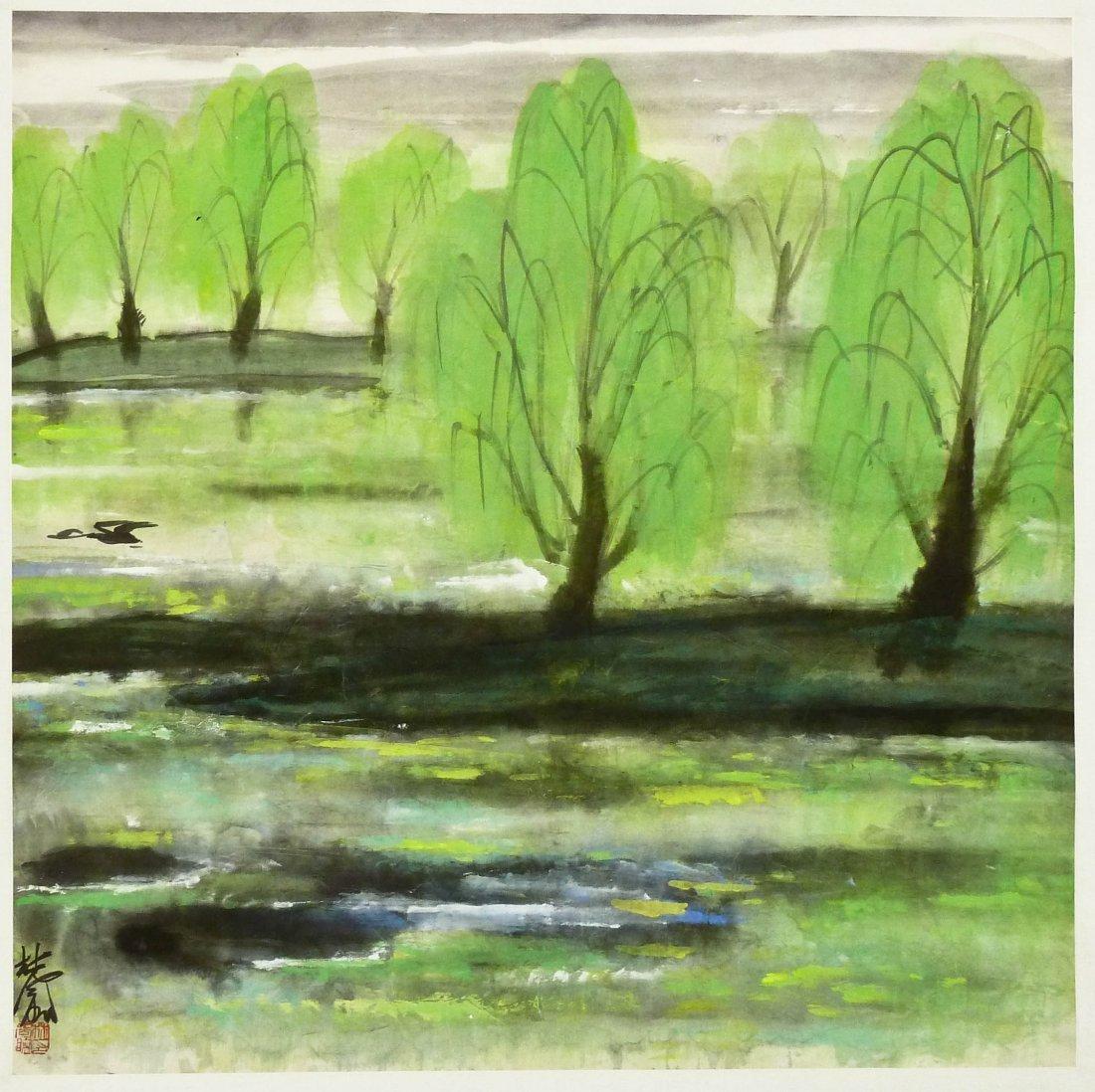 Lin Fengmian Signed River Scene Landscape Watercolor &