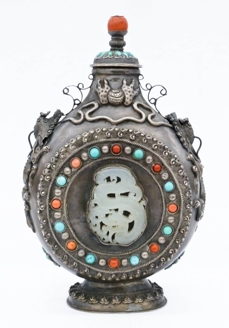 Antique Chinese Mongolian Silver Moon Flask Covered