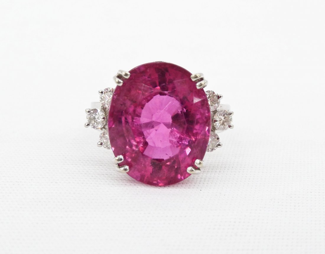 Lady's 14k Pink Tourmaline & Diamond Ring. Contains a