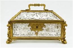 Antique French Gilt Bronze  Silver Panel Casket