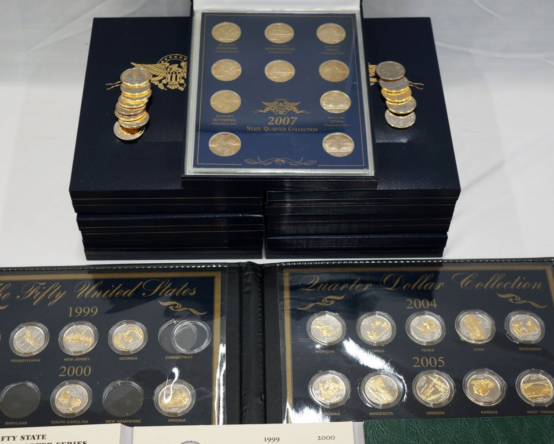 U.S. State Quarters in cases and folios and (6) new