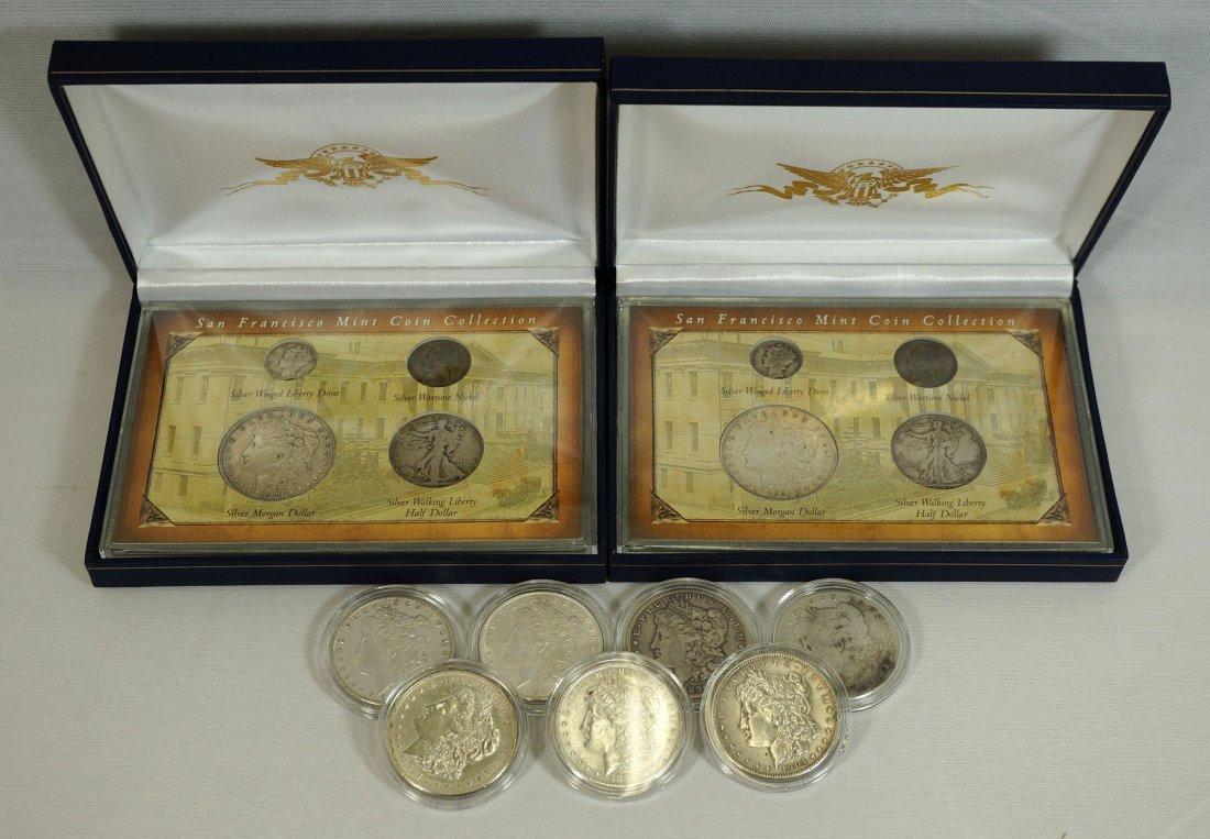 Nine U.S. silver dollars. Includes 1886, 1886-O, 1889,
