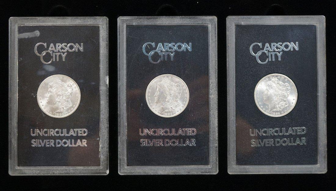 Three GSA Carson City Morgan Dollars. 1882, 1883, and