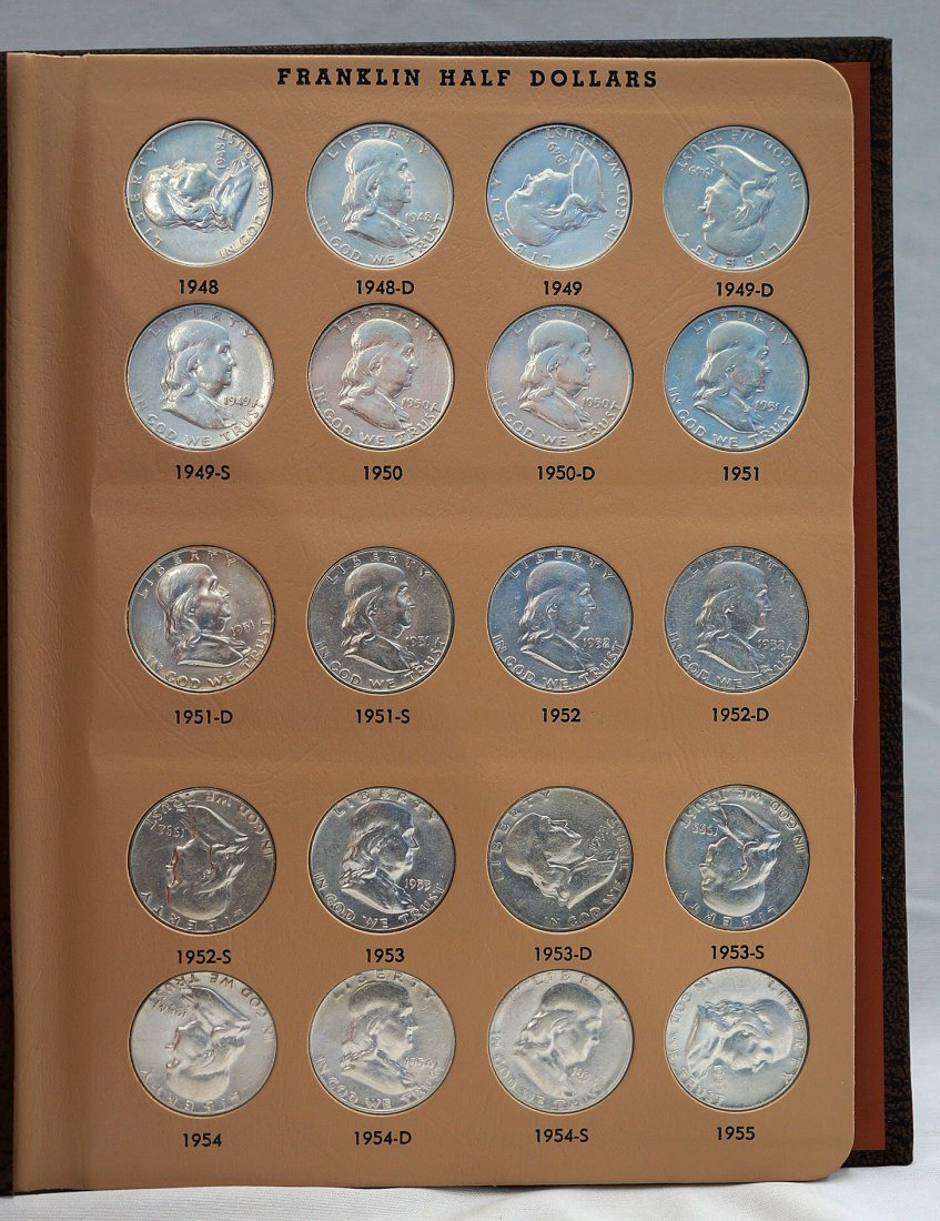 Franklin Half-Dollar coin complete set in Dansco album.