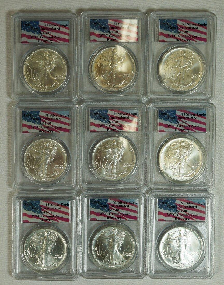 Group (9) 1991 $1 Silver Eagles .999 one ounce each.
