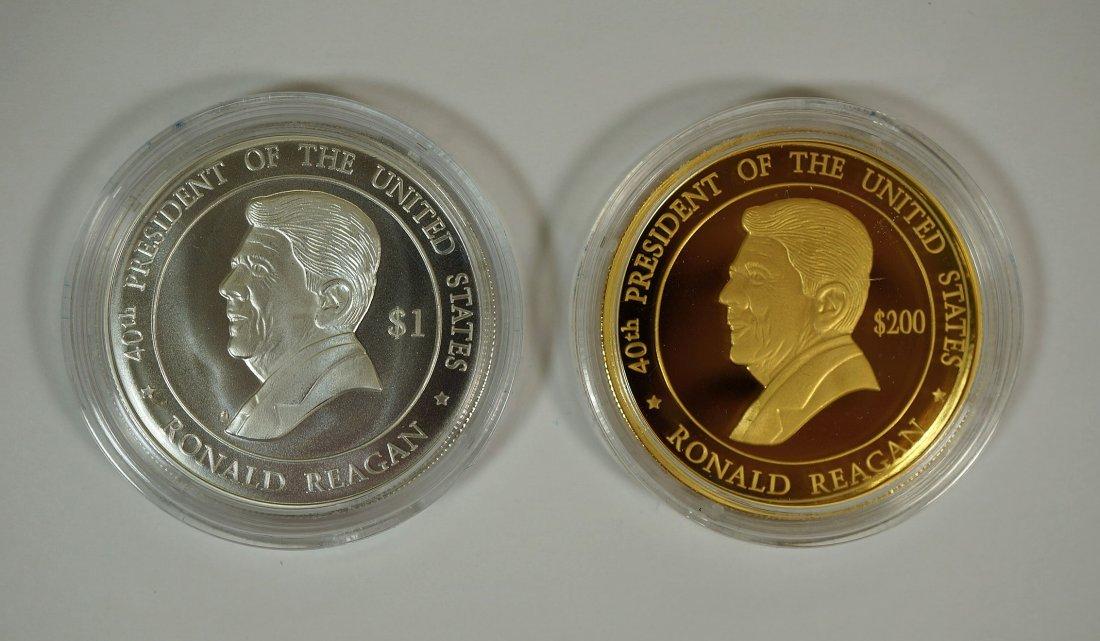 2004 Cook Islands Ronald Reagan gold and silver coin - 2