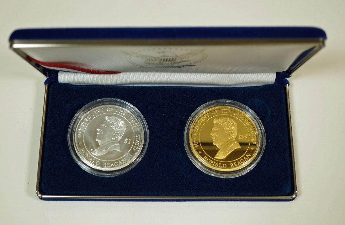 2004 Cook Islands Ronald Reagan gold and silver coin - 3