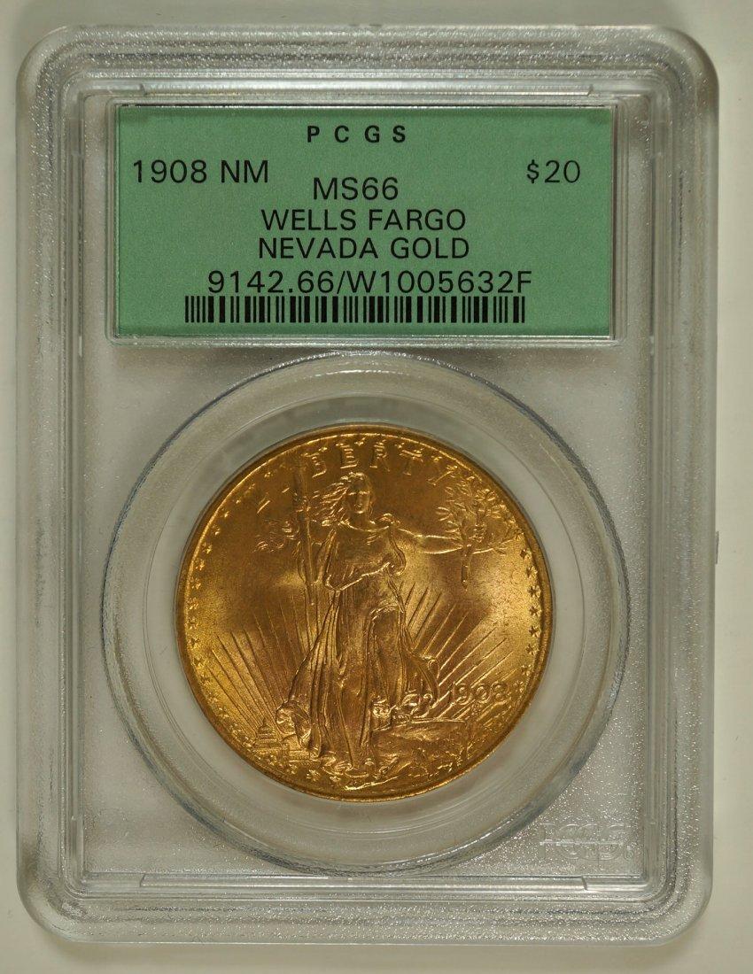 1908 No Motto Saint Gaudens Wells Fargo Nevada Gold