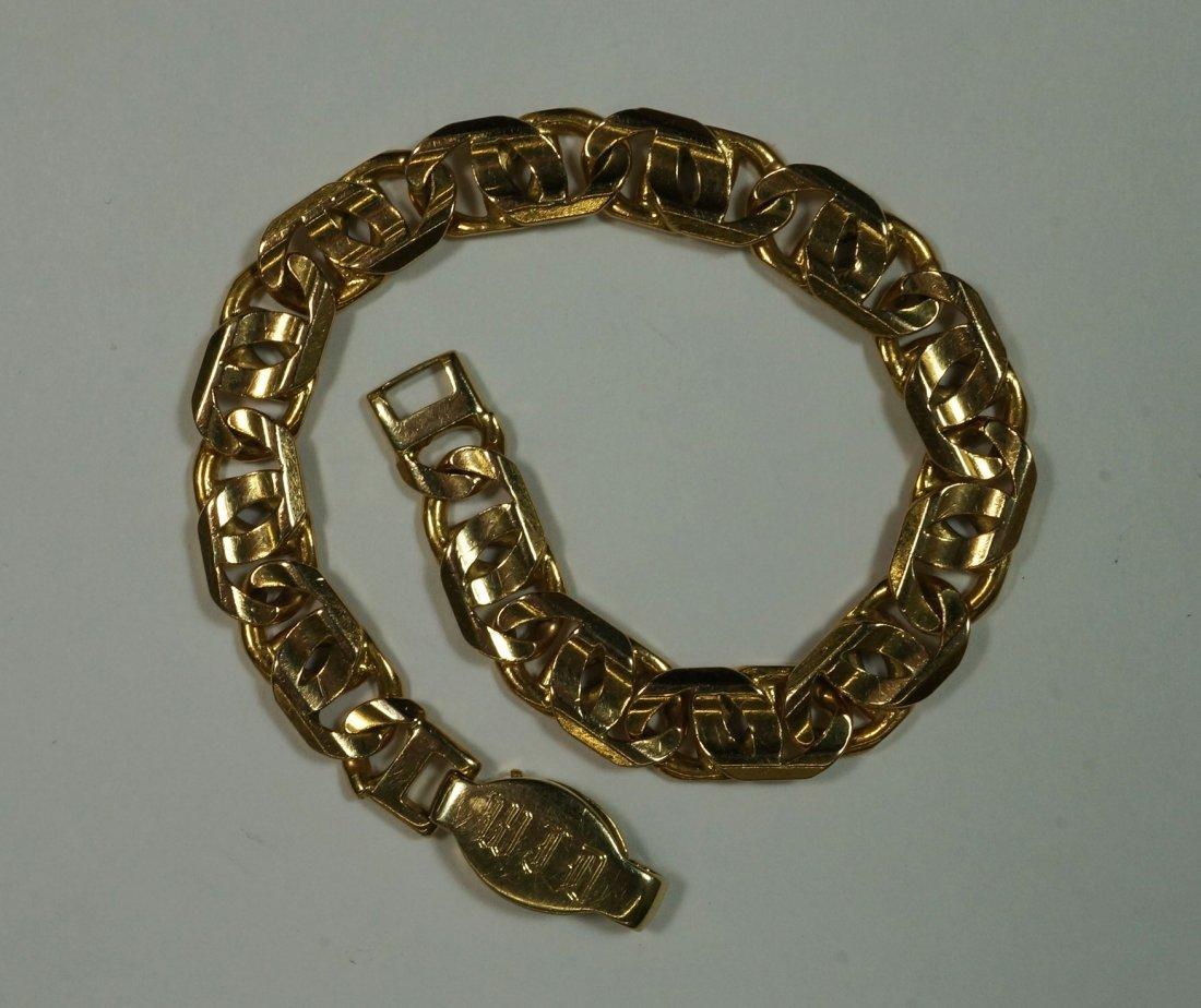 Mens heavy Italian gold bracelet. Stamped 14K, made in - 2