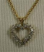 Ladies Diamond 14K gold Heart pendant with 18K gold