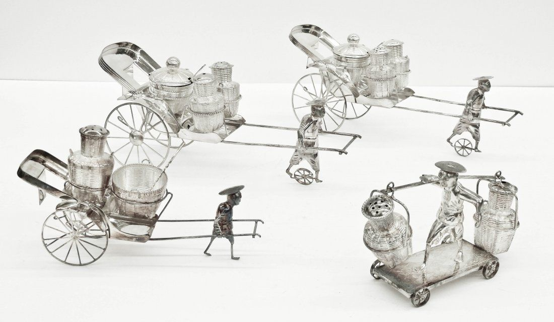 4pc Chinese Export Silver Figural Rickshaw Shaker Sets