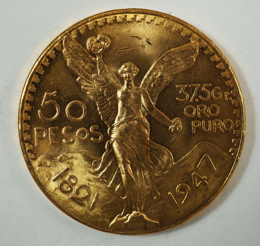 1947 Mexico 50 Pesos Gold Coin, 37.5g Oro Puro, Gold