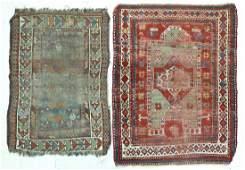 2pc Antique Kazak Caucasian Prayer Rugs 3'x4'5'' and
