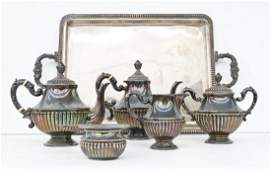 6pc Spain .915 Silver Tea Service. Includes a 23''