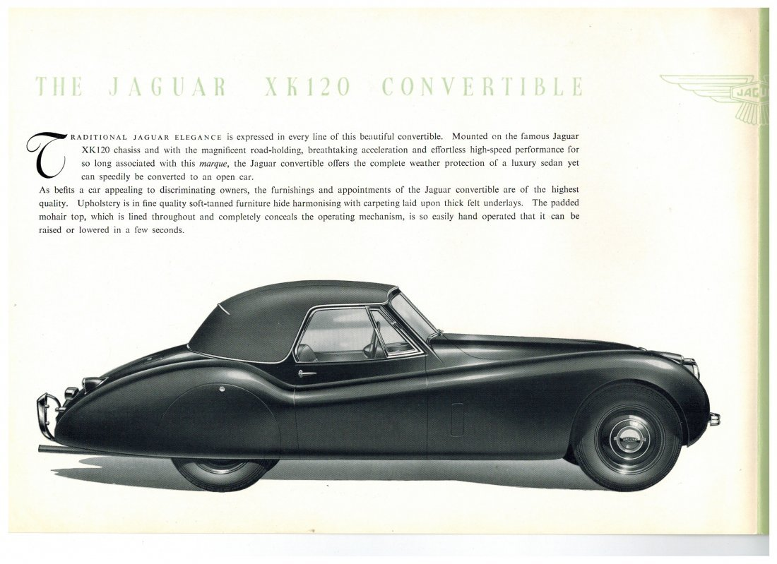 Vintage Jaguar XK 120 Convertible Sales Brochure