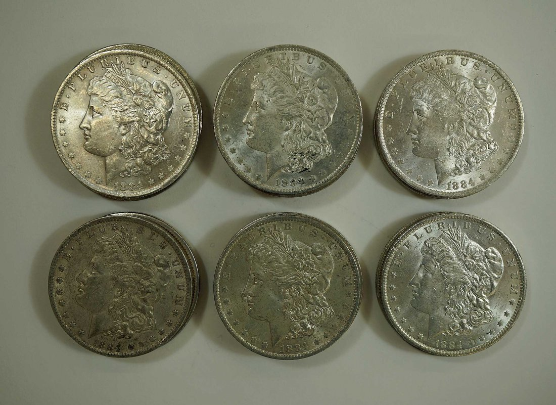 (22) 1884-O Morgan US Silver Dollars, various condition