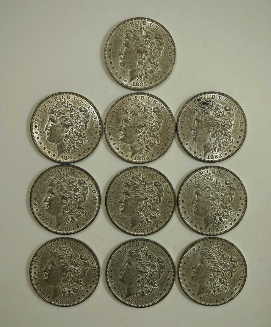 (11) 1883-O Morgan US Silver Dollars, various condition