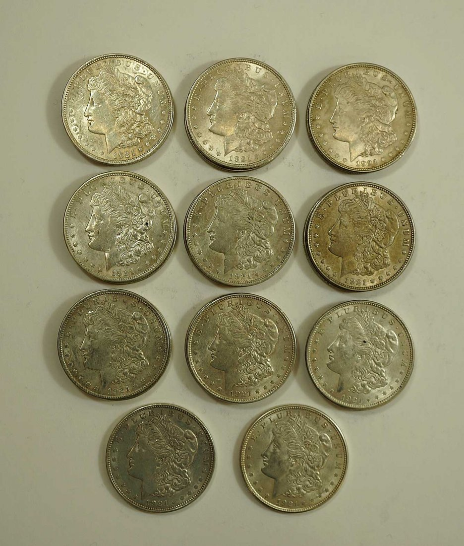 (20) 1921 Morgan US Silver Dollars