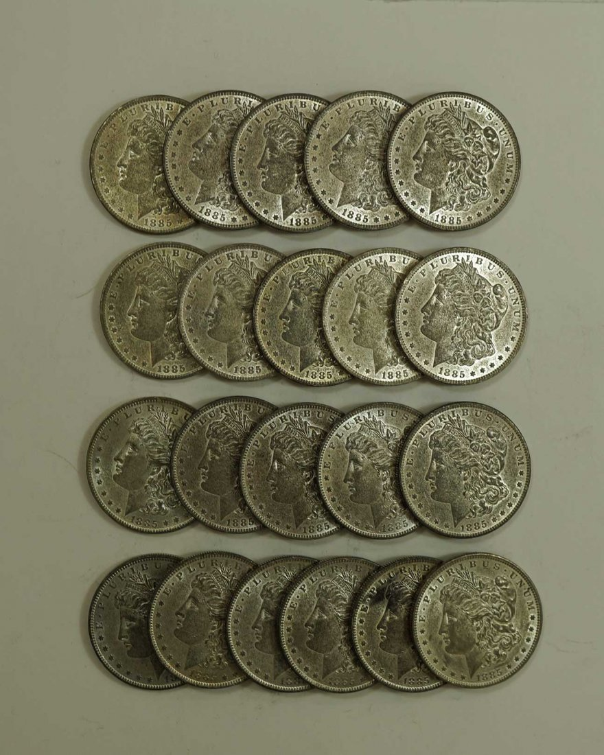 (21) 1885-O US Morgan Silver Dollars, nice sharp
