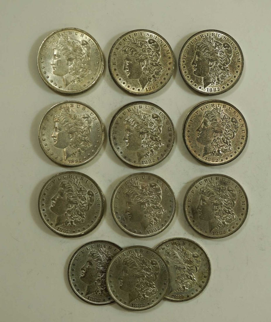 (21) 1882-O Morgan US Silver Dollars, asst condition