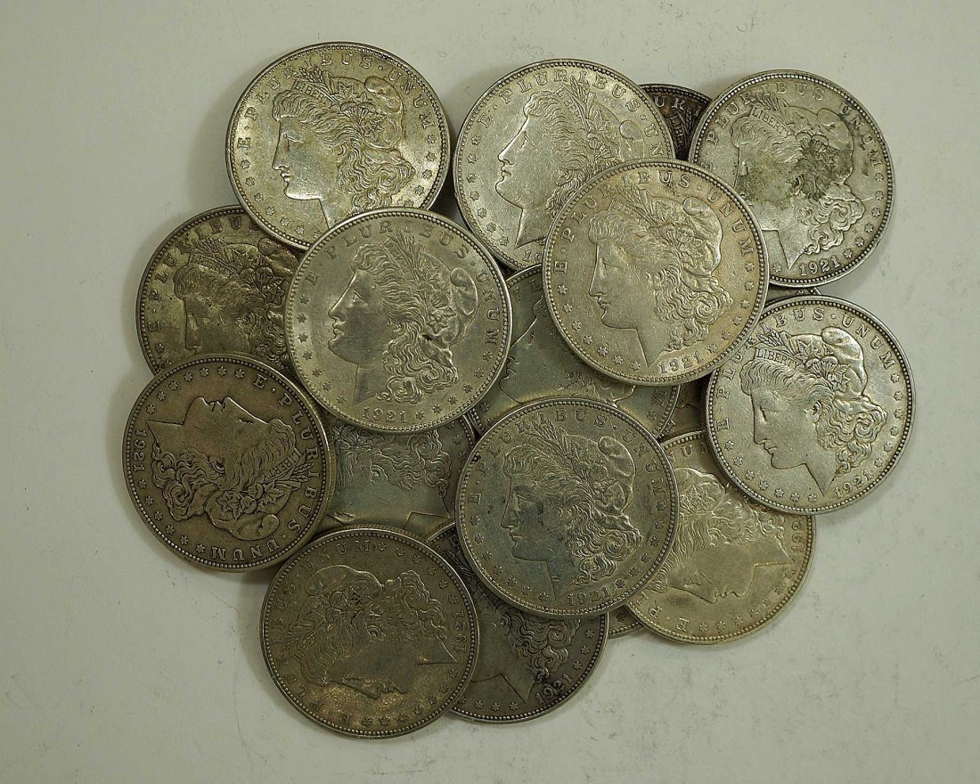 (20) 1921 Morgan US Silver Dollars, asst cond
