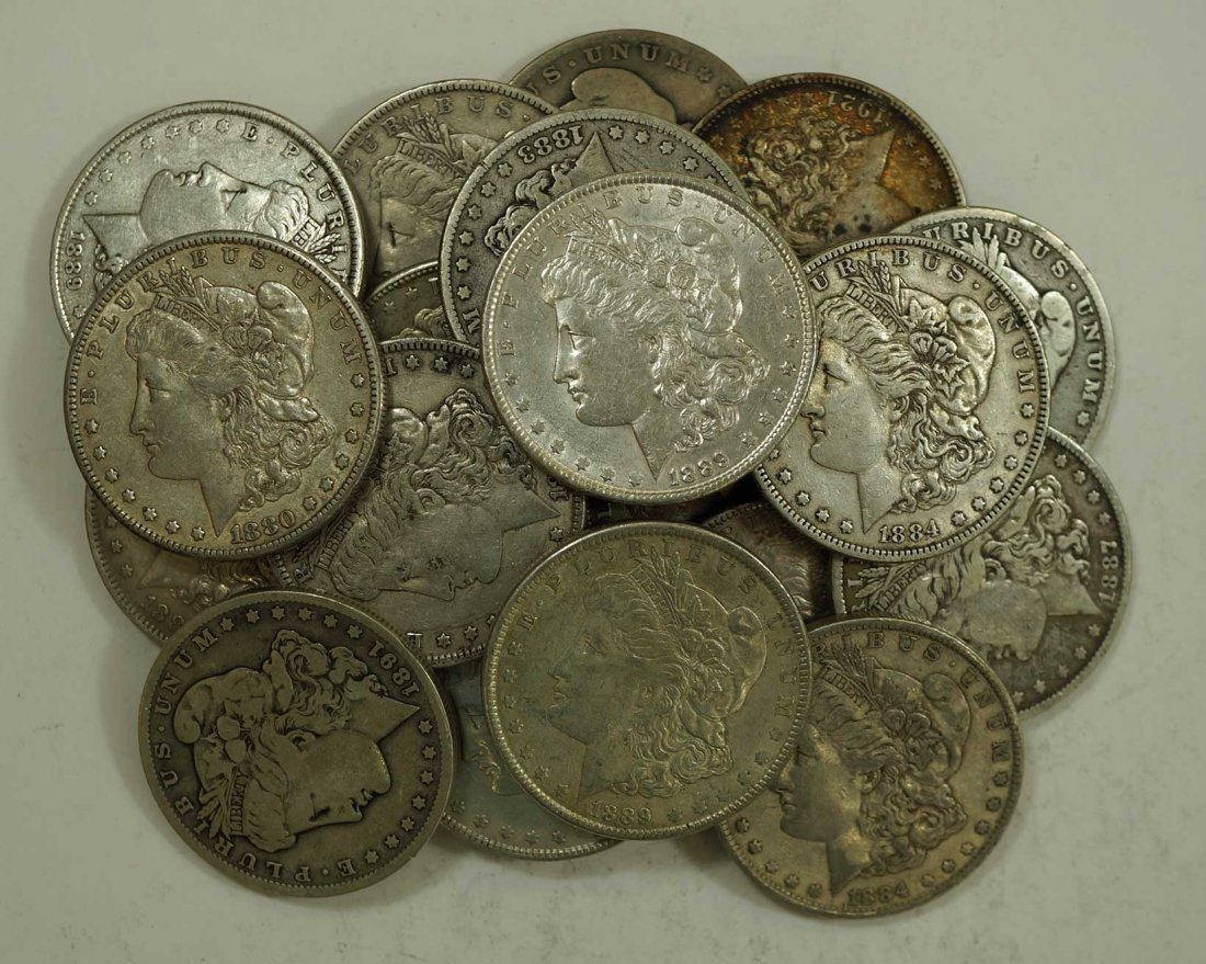 (20) Morgan US Silver Dollars, asst dates & cond