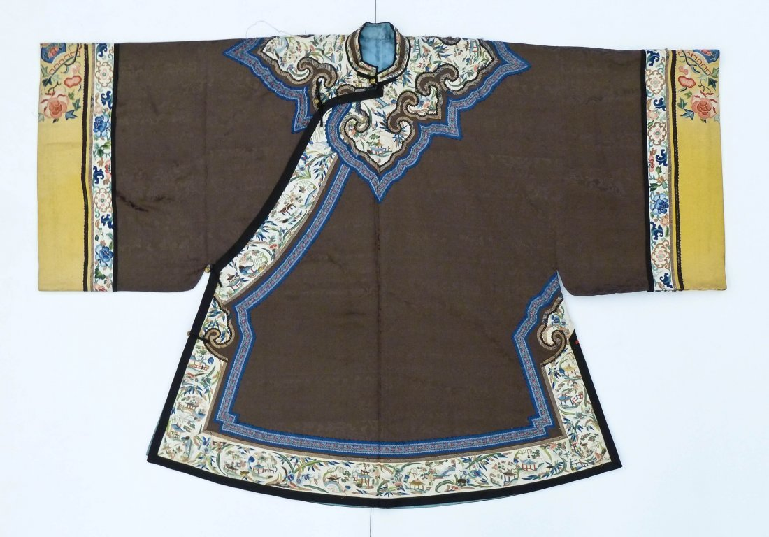 Antique Chinese Mandarin Silk Embroidered Robe
